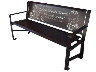 Powder Coated Metal Memorial Benches