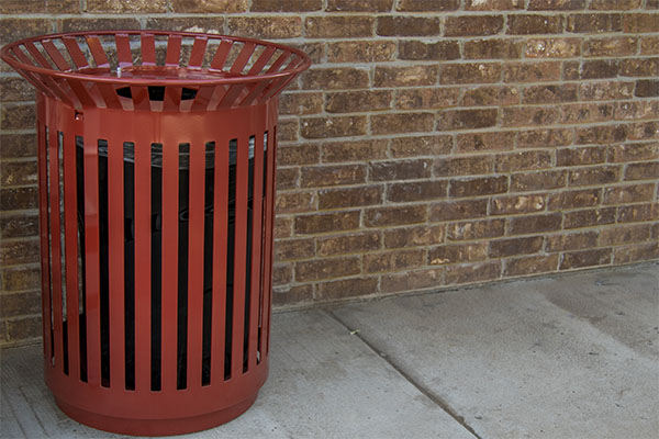 Red Trash Receptacles
