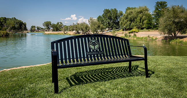 Outdoor Lake-Front Park Benches