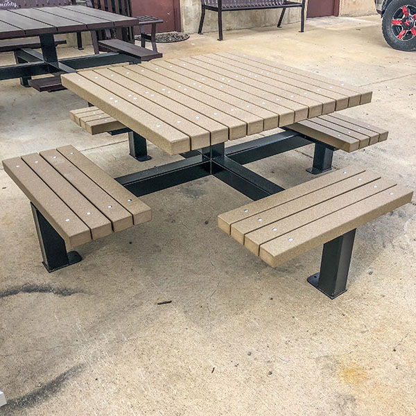 Recycled Plastic Square Leg Table Quality Site Furniture